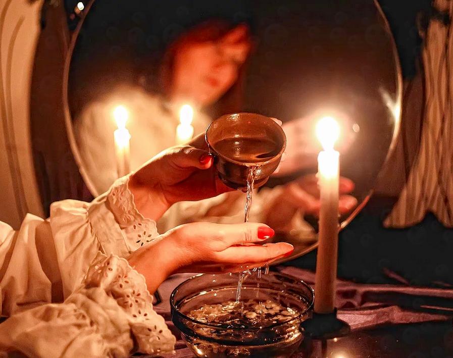 Гадание в бане на зеркале и воде