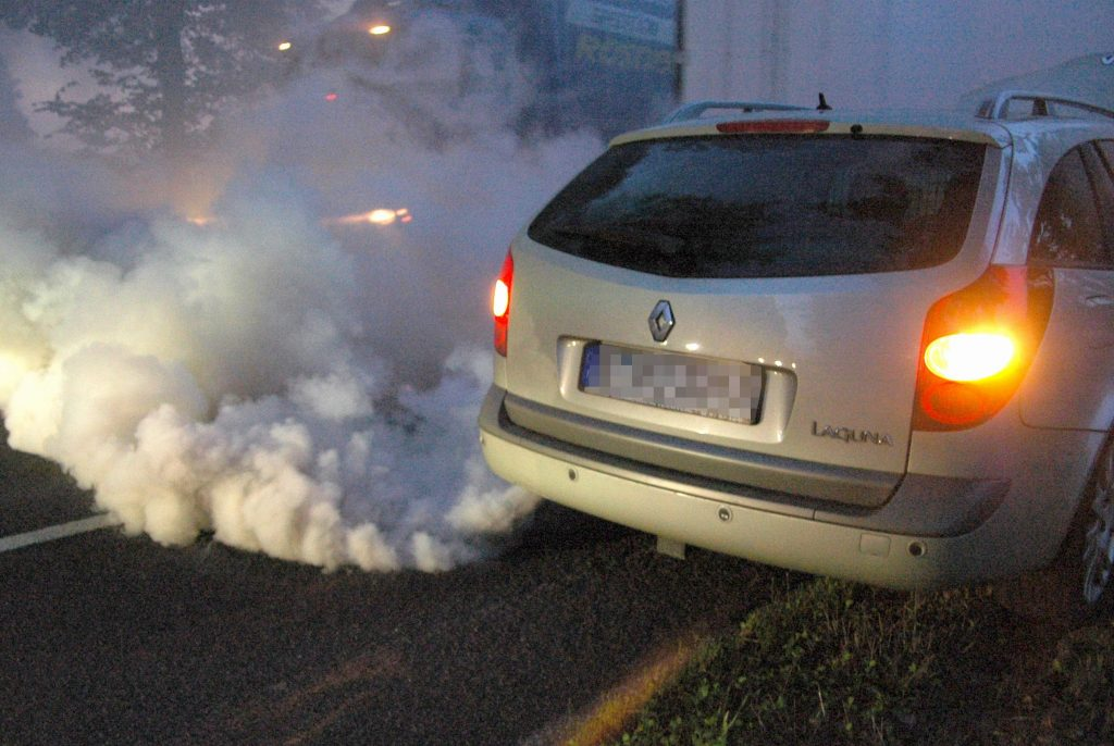 белый дым автомобиля