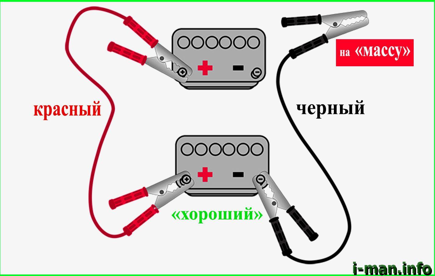 красный и черный провод на аккумулятор авто для прикуривания